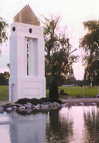 Water feature at Sunset Memorial Park