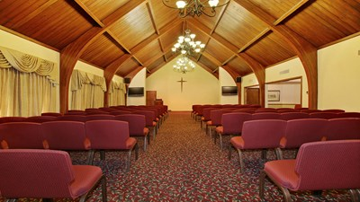 Chapel down the aisle view at Memorial Funeral Home/Columbia.