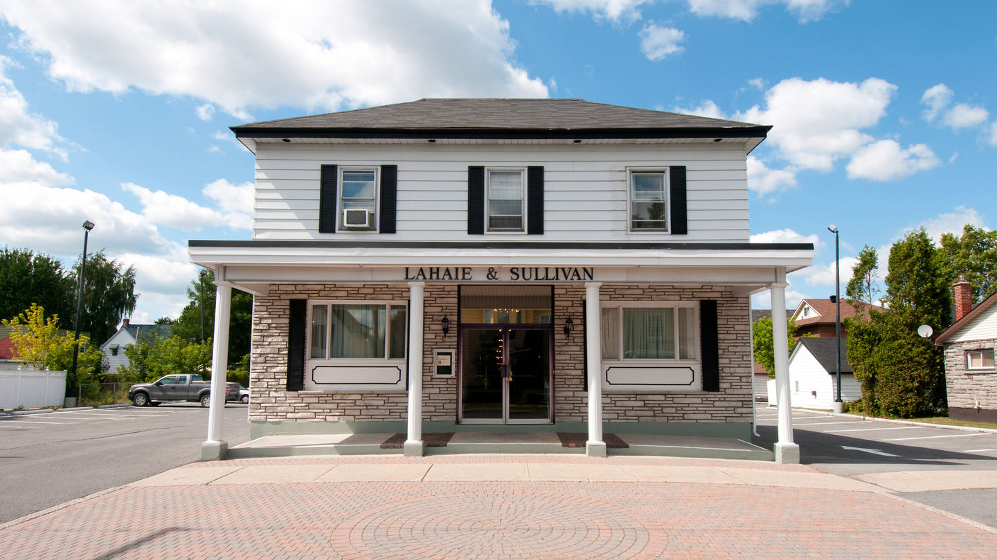 Front exterior entrance at Lahaie & Sullivan Cornwall Funeral Home - East Branch