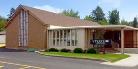 Front exterior entrance at Strate Funeral Home.