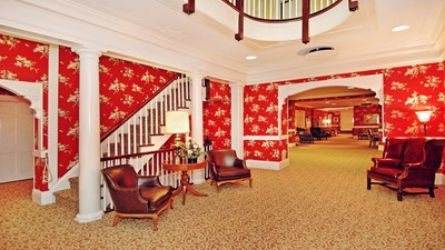 Lobby area  with staircase at Leber Funeral Home.