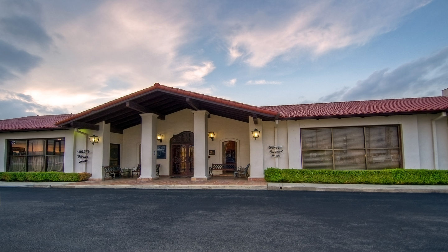 Front exterior building at Sunset Funeral Home