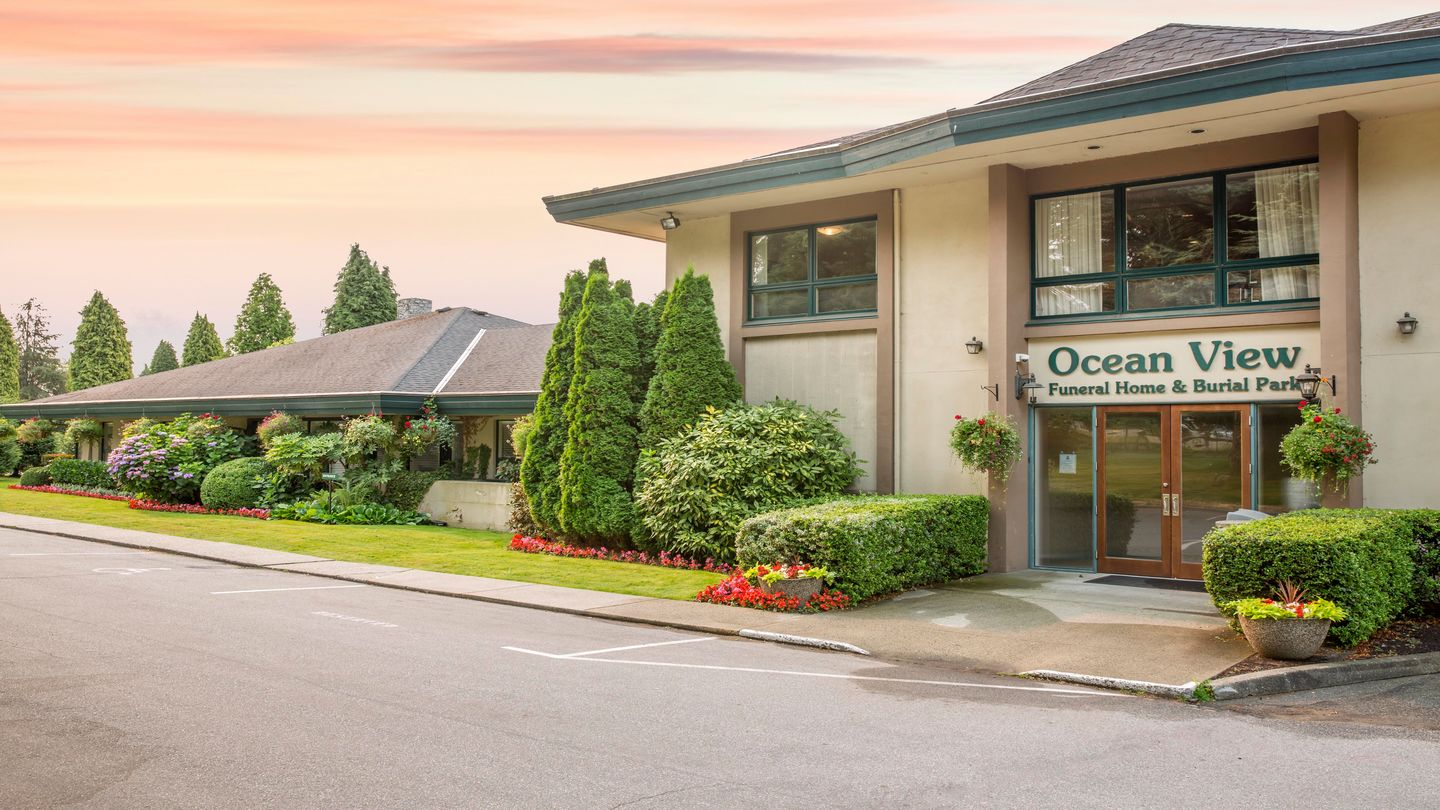 Front exterior and signage at Ocean View Funeral Home
