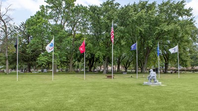 Veterans section at Woodlawn Cemetery