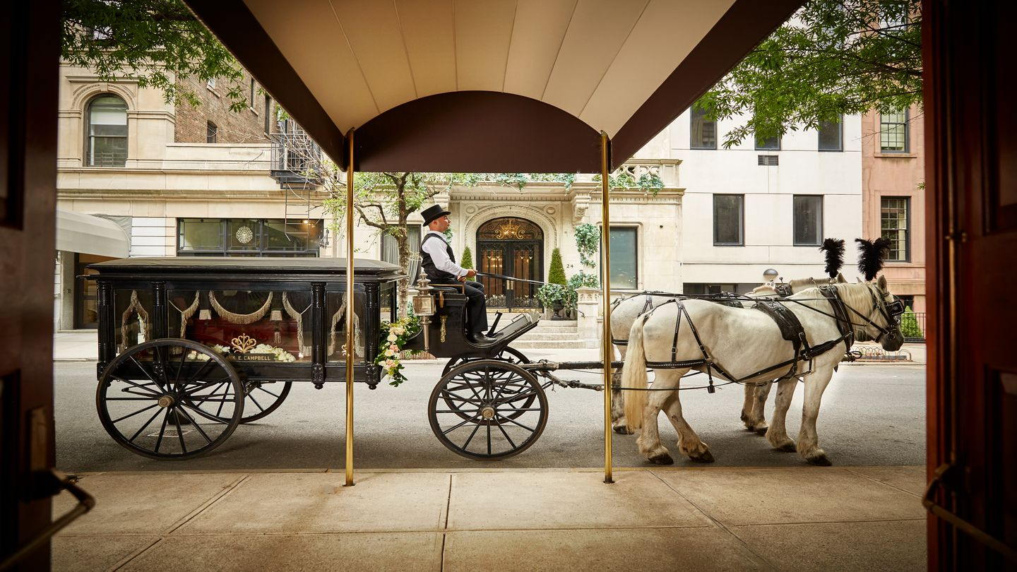 Horse and carriage waiting outside the funeral home before a procession.