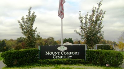 Signage at Mount Comfort Cemetery