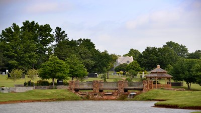 Bridge over water feature at Rose Hill Burial Park