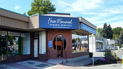 Front exterior building and signage at First Memorial Funeral Services Kamloops