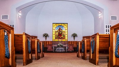 Chapel with stained glass window at Martin Mortuary