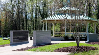 Close up view of pavilion at Forsyth Memorial Park