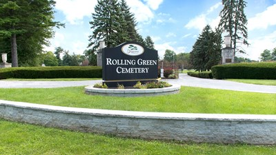Main entrance at Rolling Green Cemetery
