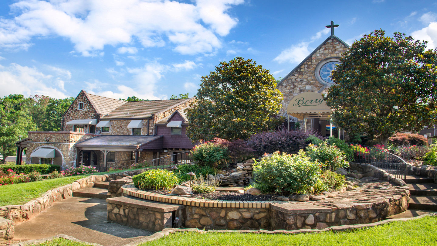 Chapel Entrance and Water Feature at Berry Funeral Home