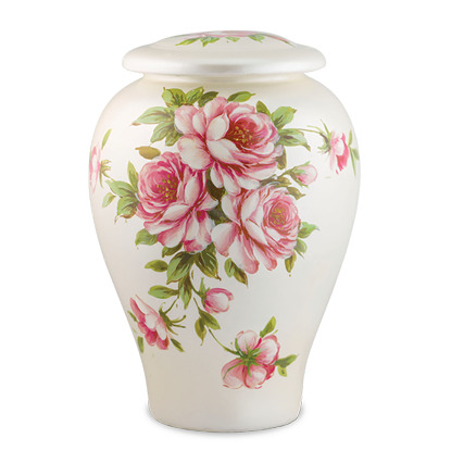 Ceramic urn with hand-painted rose bouquet detail. Features a floral motif on a pearlescent ivory background.