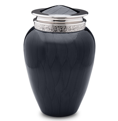 Modern yet classic urn that combines brass and aluminum, finished with a rich pearlescent enamel and polished nickel accents.