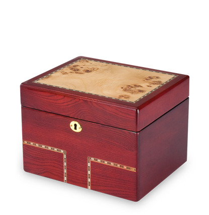 Mixed hardwood birch and burl wood veneer top with wood inlay and lacquer finish. Features a plastic urn insert and one key.