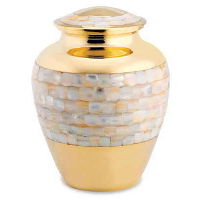 Polished brass urn with iridescent Mother of Pearl mosaic tile.