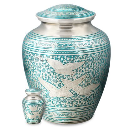 Nickel-plated brass vase with blue accents and dove design. Keepsake sold separately.