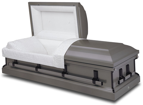 20-gauge steel casket with a dark gray painted exterior and silver crepe interior.