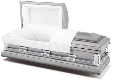 18-gauge steel casket with a silver-shaded pewter exterior and ivory, crepe interior.