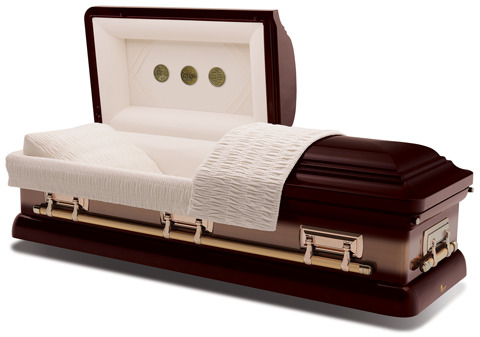18-gauge steel casket with an auburn brushed exterior and champagne velvet interior.