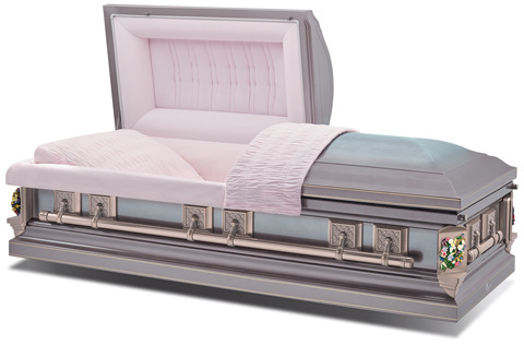 Stainless steel casket with a rose brushed exterior and moss pink velvet interior.