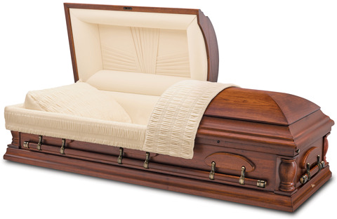 Solid pecan casket with a medium stained, satin finished exterior and champagne velvet interior.