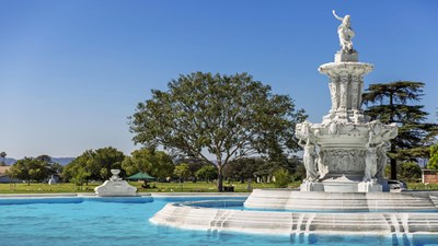 Fountain with angel on top at Pierce Brothers Valhalla Memorial Park.