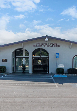 Front exterior at Stratford Evans Merced Funeral Home