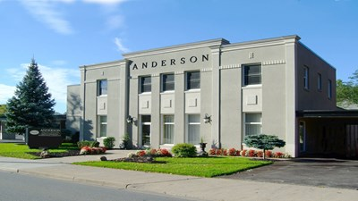 Front exterior building at Anderson Funeral Home & Cremation Centre