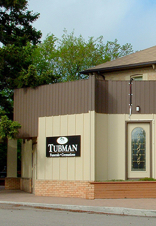 Front exterior building and signage at Tubman Funeral Home/Valley Crematorium