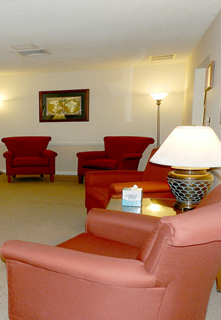 Sitting area at Hodges-Farley Funeral Home