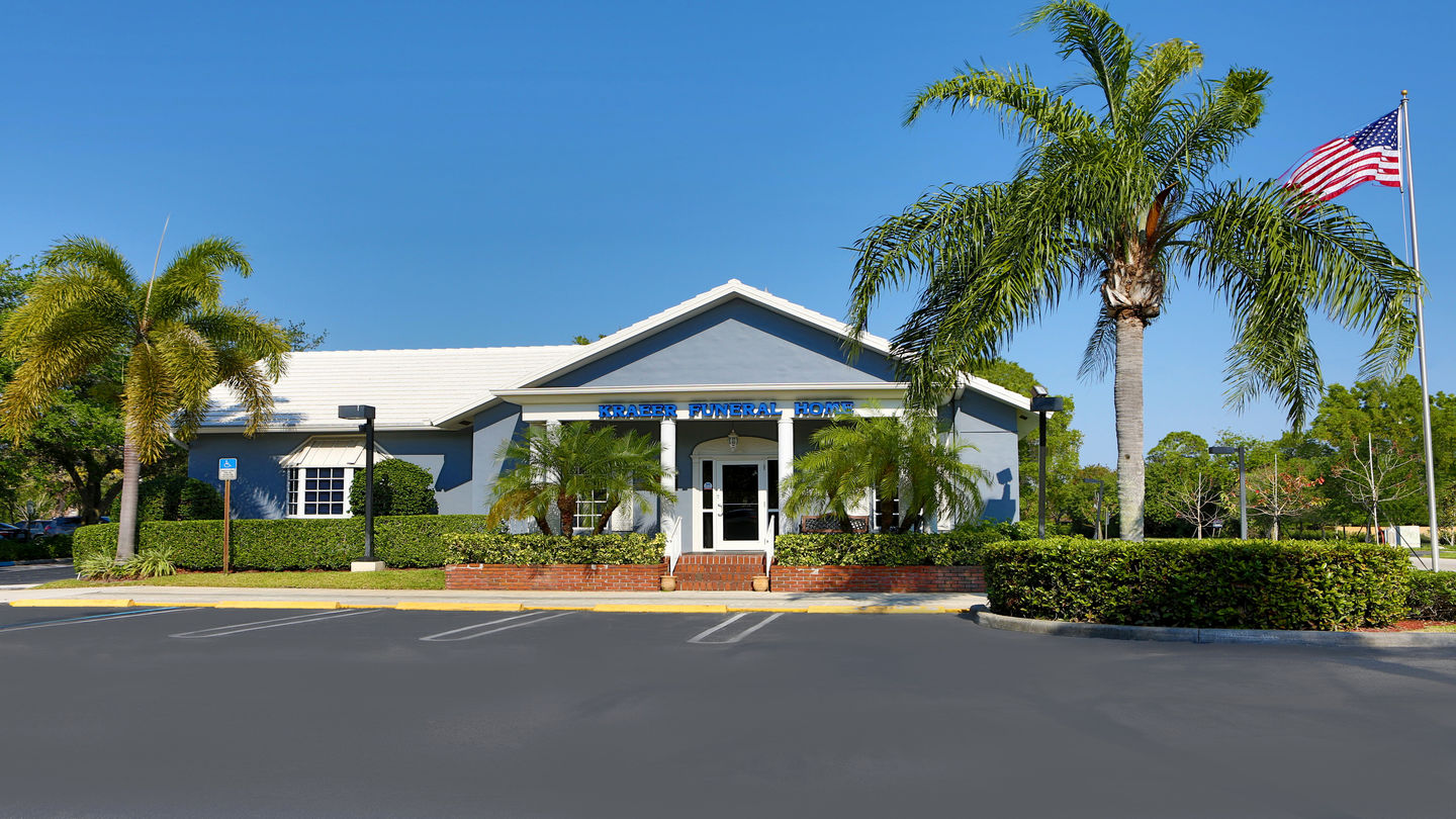 Front exterior building at Kraeer Funeral Home and Cremation Center