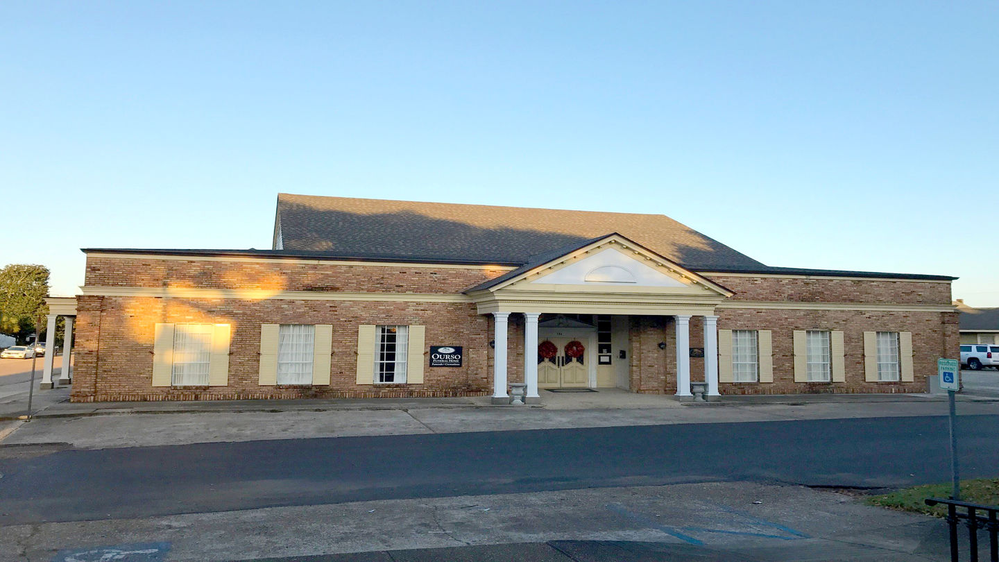 Front exterior building at Ourso Funeral Home
