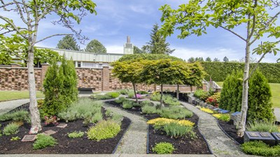 Cremation gardens and brick niche walls at Garden of Memories
