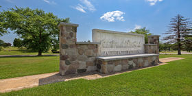 Special landscaping feature at Cedar Hill Cemetery