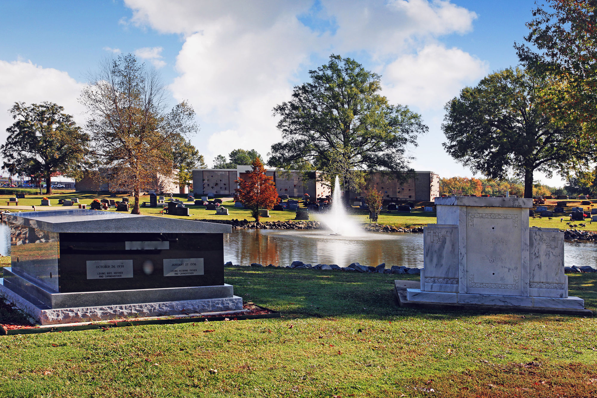 Water feature at Rest Hills Memorial Park