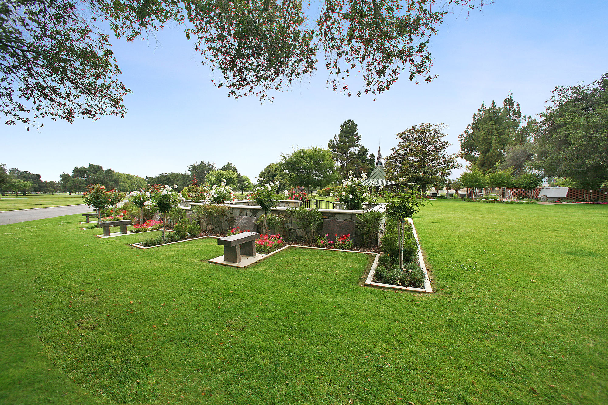 Estate area with cremation garden in the background at Oakdale Memorial Park.