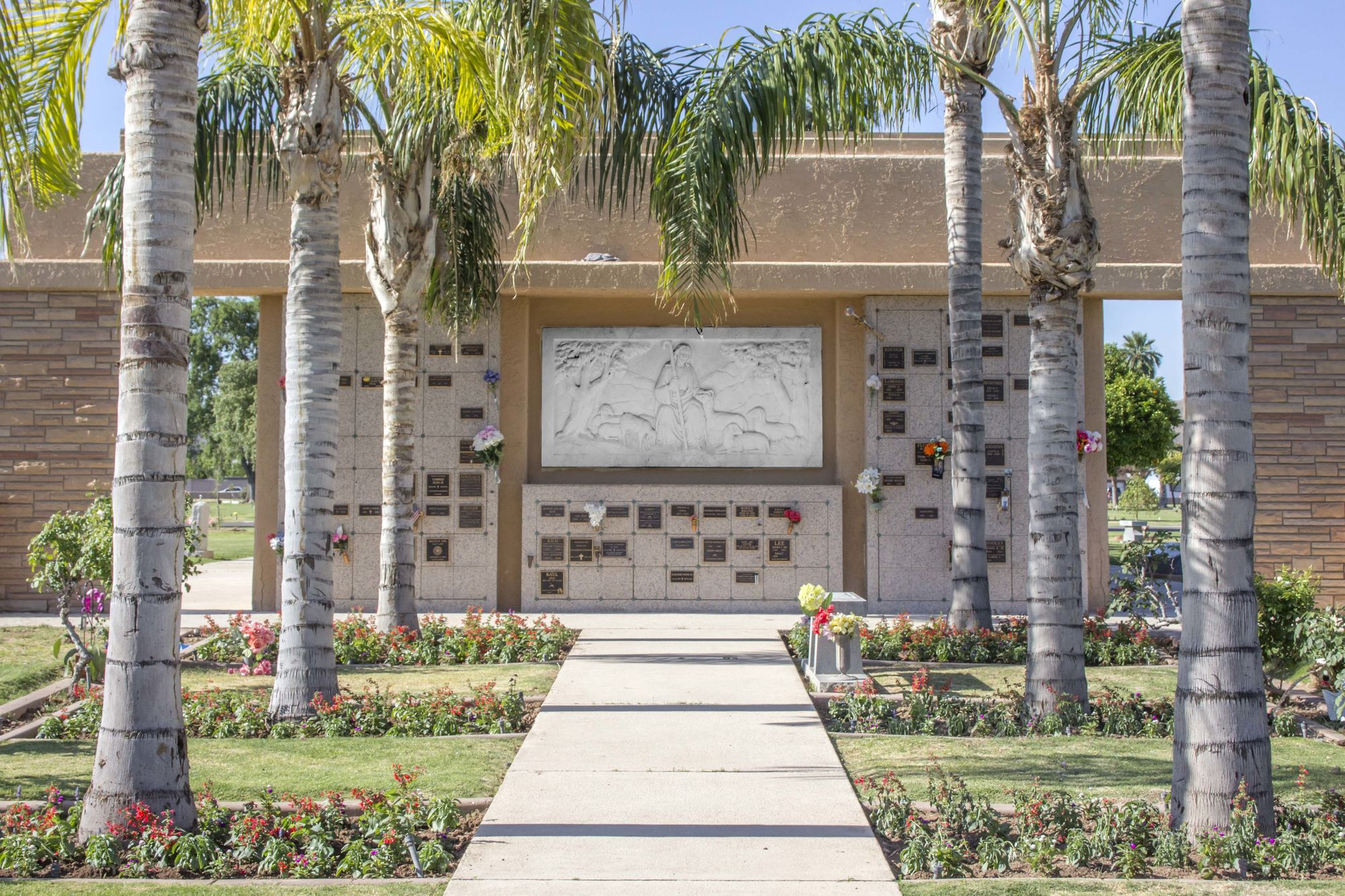 Walk of Palms and Good Shepherd Mausoleum at Resthaven / Carr-Tenney Mortuary & Memorial Gardens.