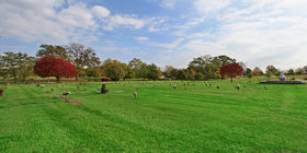 Cemetery grounds with flat markers at Memorial Funeral Home/Columbia.