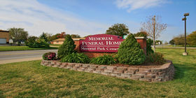 Front entrance signage at Memorial Funeral Home/Columbia.