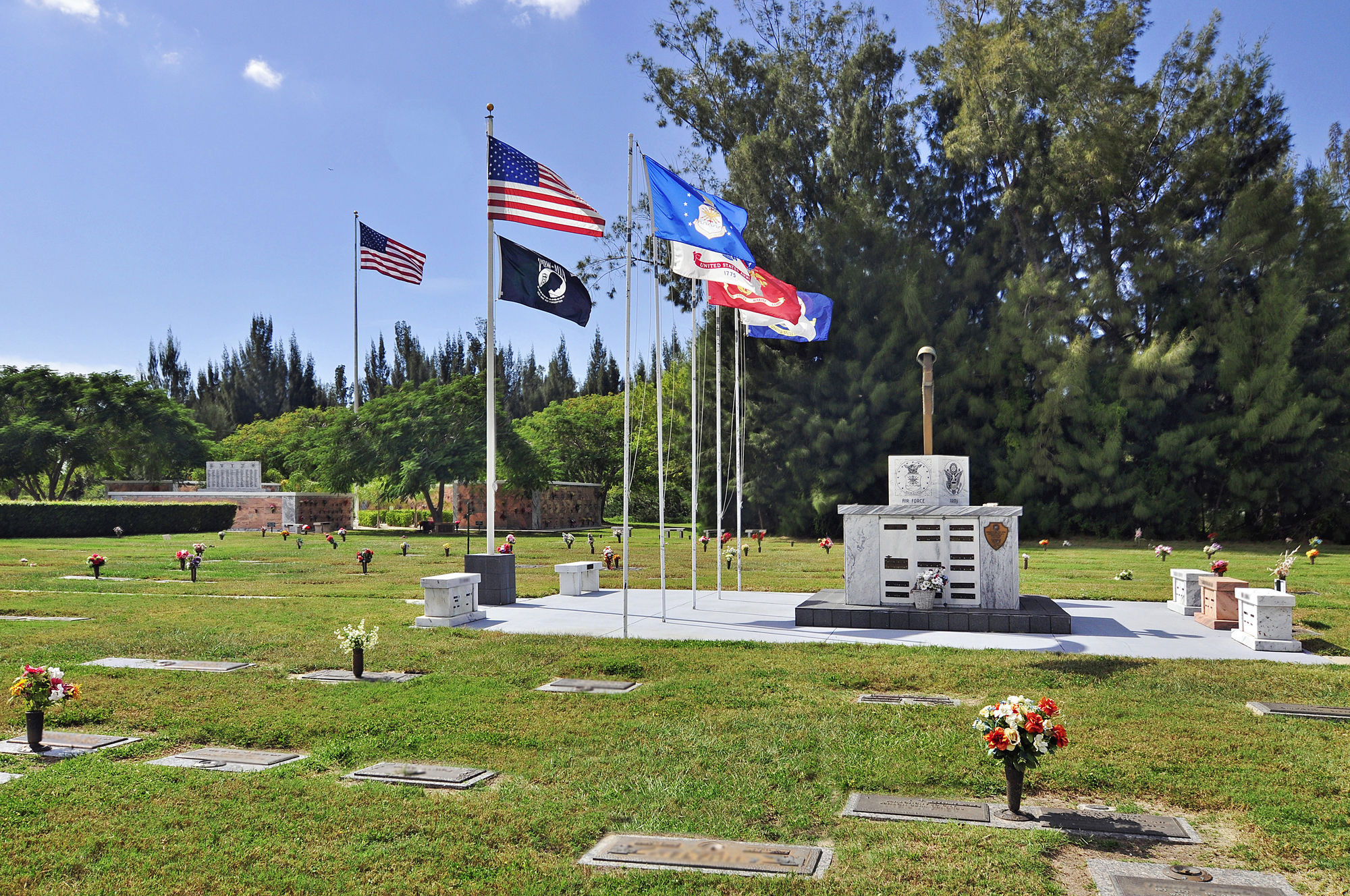 Veterans section at Coral Ridge Funeral Home & Cemetery