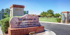 Entrance signage at Mariposa Gardens Memorial Park