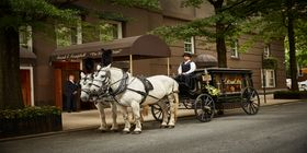 Horse and carriage in front of a funeral home with a casket.