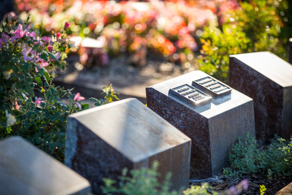 A cremation garden with beveled memorial niches.