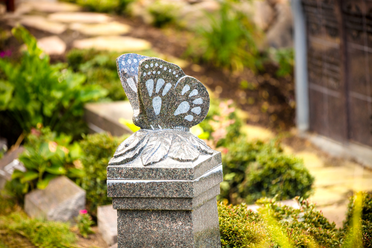 A custom butterfly cremation pedestal at Chapel Hill Gardens South Cemetery.