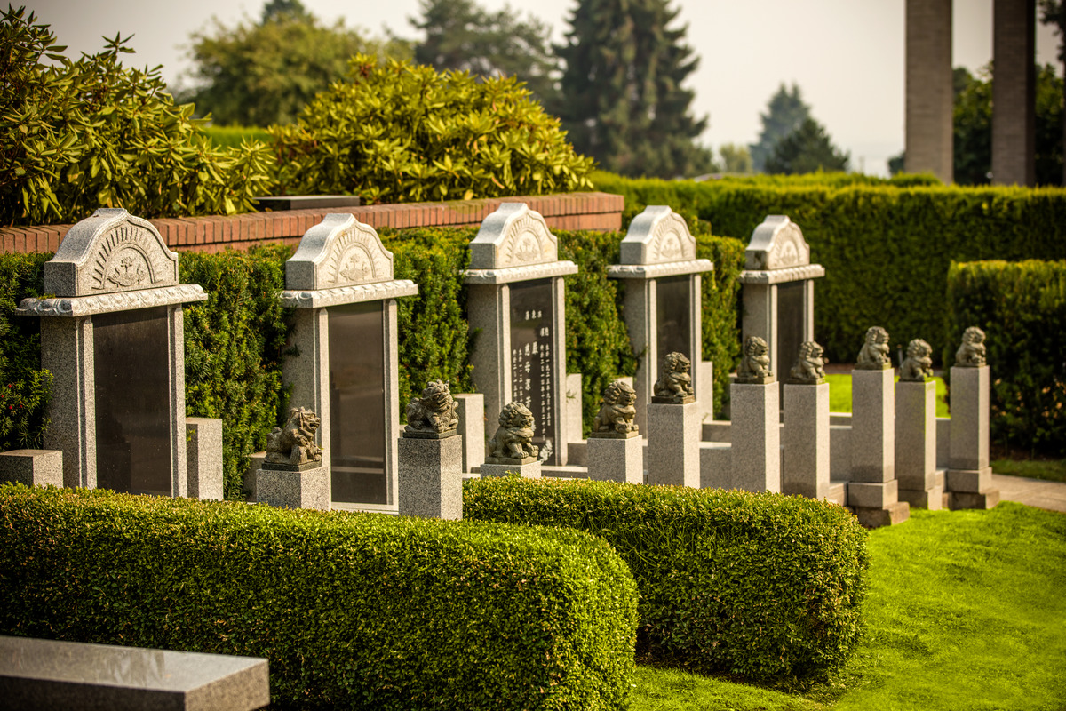 This regal row of family memorial markers displays one of the many customizable cremation memorials we offer.