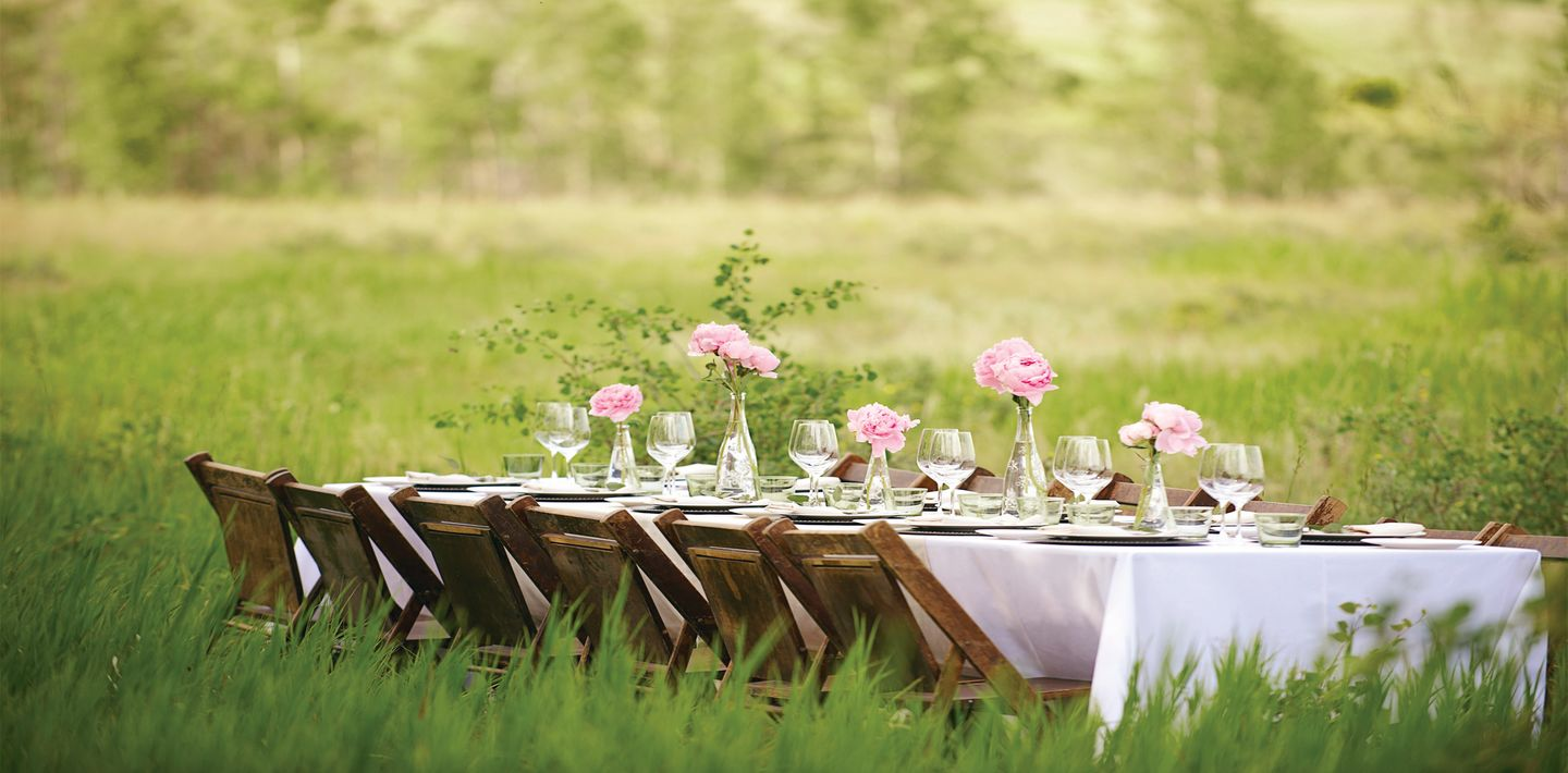 A table with a white table cloth set with glasses and plates in a green meadow