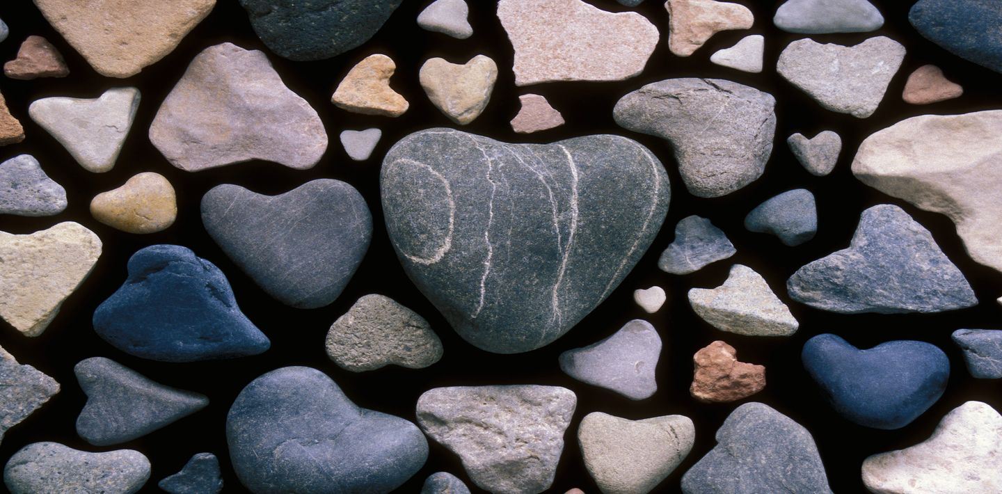Stones or rocks in the shape of hearts