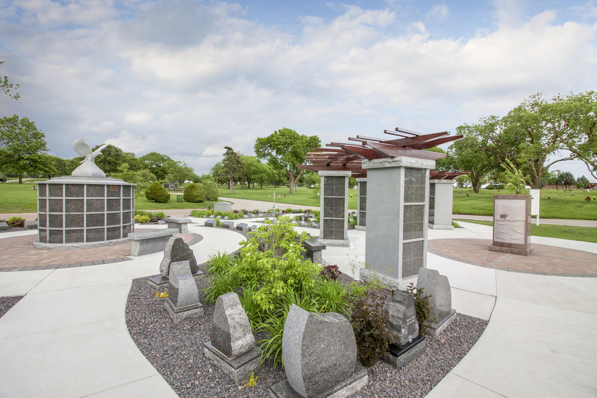 Cremation garden at Lincoln Memorial Cemetery