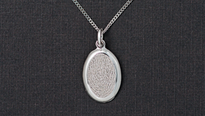 Timeless Touch fingerprint memorial pendant with chain  in silver.